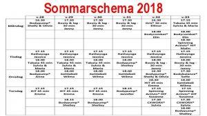 Sommarschema 2018